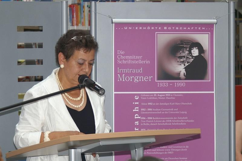 Irmtraud Morgner, Einweihung des Irmtraud-Morgner-Kunstwerkes in der Stadtbibliothek Chemnitz, Grußwort Ministerin Stange, 2008